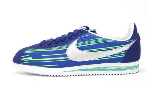 Nike Classic Cortez Nylon Mens Shoes New Outlet Blue Green Silver Hot Coupon