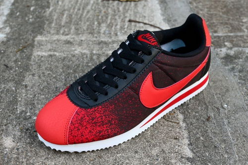Nike Classic Cortez Nylon Mens Shoes New Outlet Red Black Hot Poland