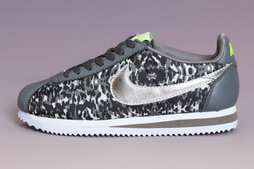 Nike Classic Cortez Nylon Prm Mens Shoes Gray Silver Green New Cheap