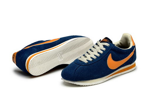 Nike Classic Cortez Nylon Womens Dark Blue Orange Closeout