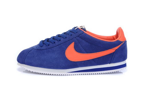 Nike Classic Cortez Nylon Womens Fur Royal Blue Orange Cheap