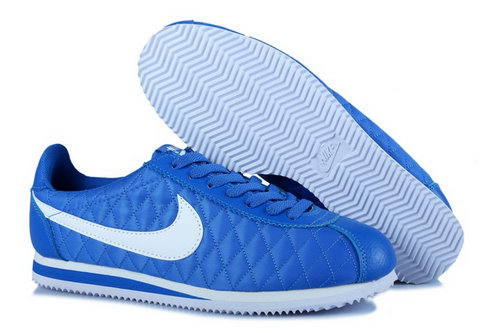 Nike Classic Cortez Nylon Womens Shoes All Blue White