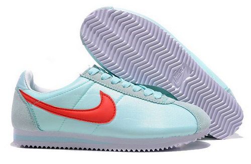 Nike Classic Cortez Nylon Womens Shoes Baby Blue Red China