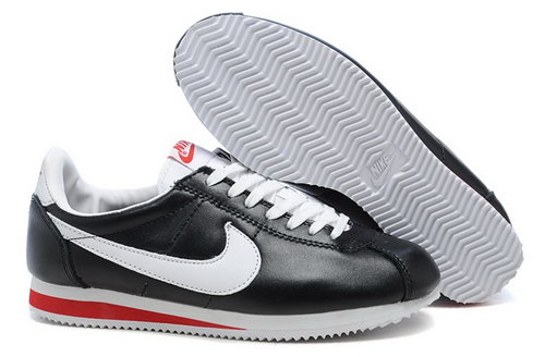 Nike Classic Cortez Nylon Womens Shoes Black White Red Fur Online