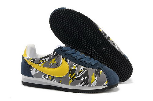 Nike Classic Cortez Nylon Womens Shoes Deep Blue Yellow Germany