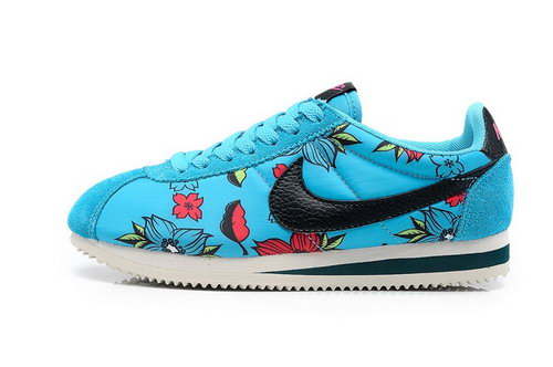 Nike Classic Cortez Nylon Womens Shoes Hawaii Flower Blue Black Italy