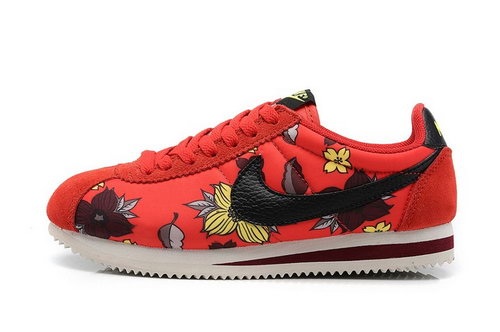 Nike Classic Cortez Nylon Womens Shoes Hawaii Flower Red Black Sweden
