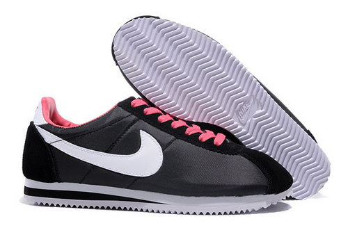 Nike Classic Cortez Nylon Womens Shoes Light Black White Red Uk