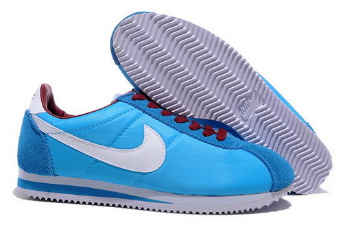 Nike Classic Cortez Nylon Womens Shoes Light Blue White Red Poland