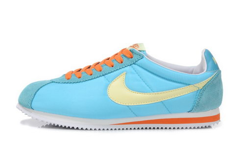 Nike Classic Cortez Nylon Womens Shoes Light Blue Yellow Wholesale