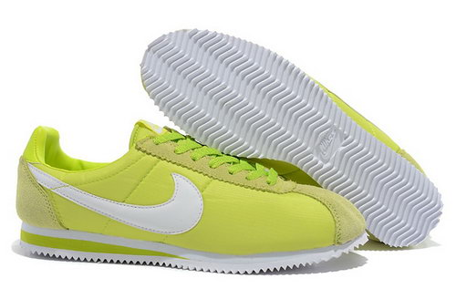 Nike Classic Cortez Nylon Womens Shoes Light Green White Sale