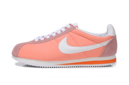 Nike Classic Cortez Nylon Womens Shoes Light Orange White For Sale