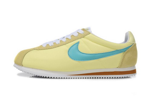 Nike Classic Cortez Nylon Womens Shoes Light Yellow Blue Online Store