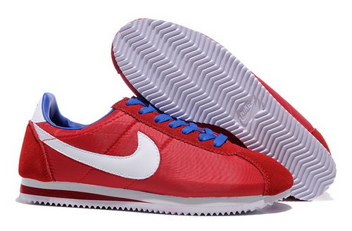 Nike Classic Cortez Nylon Womens Shoes Ocean Red White Blue Closeout