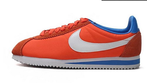 Nike Classic Cortez Nylon Womens Shoes Orange Blue White New Czech