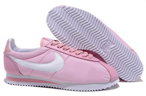 Nike Classic Cortez Nylon Womens Shoes Pink White Low Cost