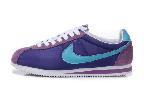 Nike Classic Cortez Nylon Womens Shoes Purple Moon Blue Best Price