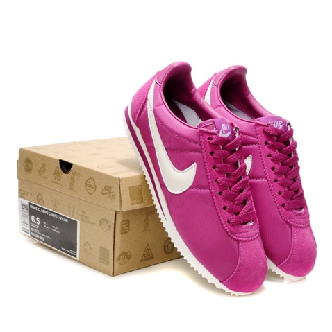 Nike Classic Cortez Nylon Womens Shoes Rosa White Denmark