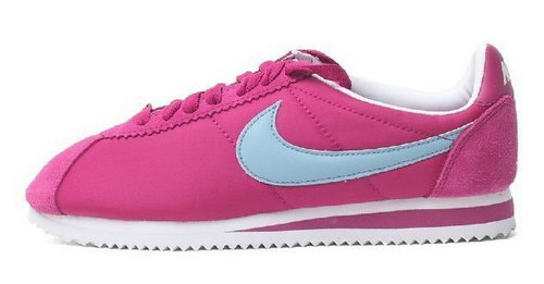 Nike Classic Cortez Nylon Womens Shoes Rose Red Blue