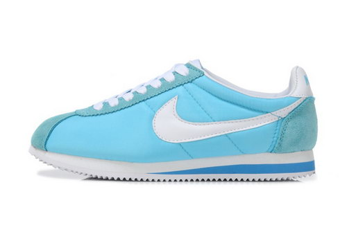 Nike Classic Cortez Nylon Womens Shoes Sky Blue White Greece