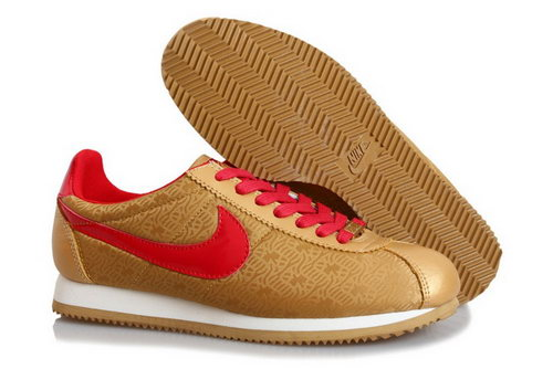 Nike Classic Cortez Yoth Mens Shoes Fur Gold Red Outlet