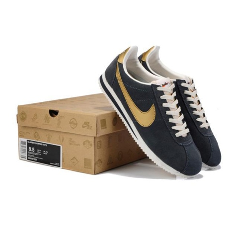 Nike Classic Cortez Yoth Mens Shoes Fur Gray Gold Discount