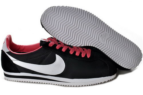 Nike Cortez Nylon Womens Shoes Black White Red New Factory