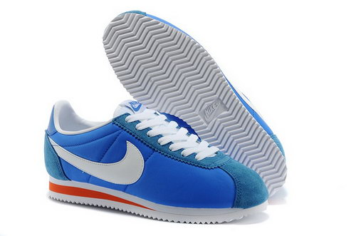 Nike Cortez Nylon Womens Shoes Blue White Orange Hot Coupon