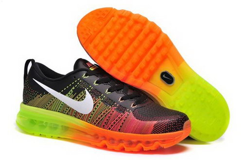 Nike Flyknit Max Mens Shoes Leather Print Black Orange White Green New Online Store