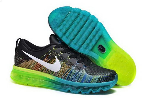 Nike Flyknit Max Mens Shoes Leather Print Black White Green Blue New Portugal