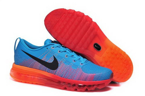 Nike Flyknit Max Mens Shoes Leather Print Blue Black Orange New Outlet Store