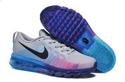 Nike Flyknit Max Mens Shoes Leather Print Light Gray Blue Pink New Usa