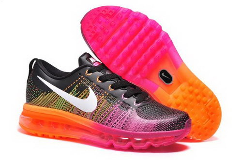 Nike Flyknit Max Womens Shoes Leather Print Black Pink Mago White New Online
