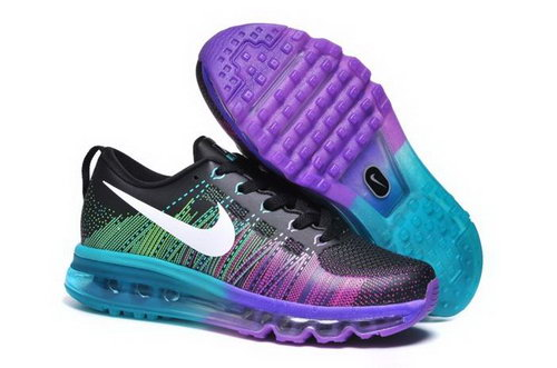 Nike Flyknit Max Womens Shoes Leather Print Black Purple Blue White New Hong Kong