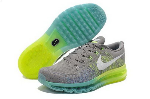 Nike Flyknit Air Max Mens Shoes Gray White Green New Sweden