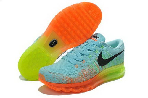 Nike Flyknit Air Max Mens Shoes Light Blue Black Orange Special Uk