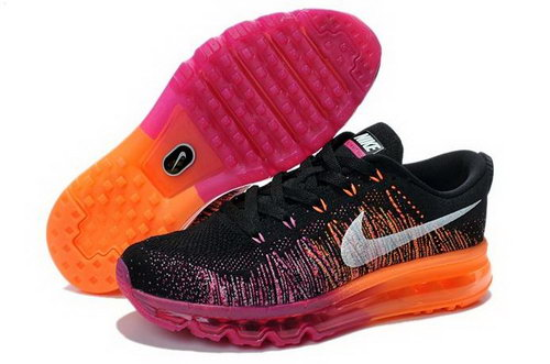Nike Flyknit Air Max Womens Shoes Black Rose Orange Silver Low Cost