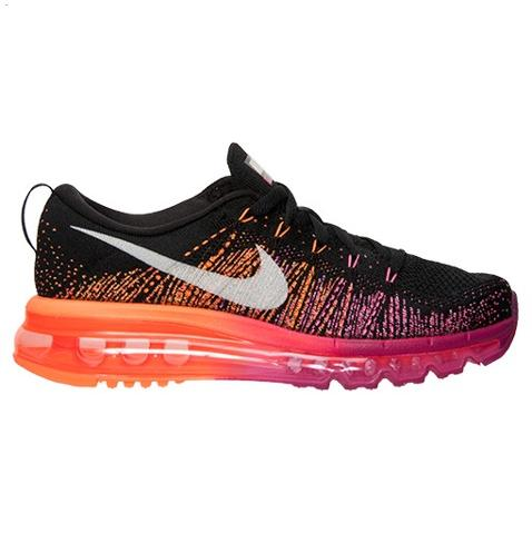 Nike Flyknit Air Max Womens Shoes Black Silver Orange Hot Cheap