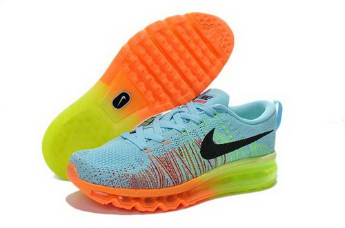 Nike Flyknit Air Max Womens Shoes Light Blue Green Orange Denmark
