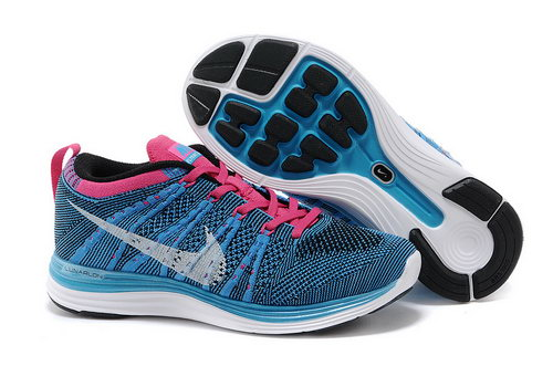 Nike Flyknit Lunar 1 Women Blue Pink Low Cost