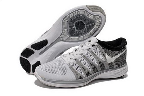 Nike Flyknit Lunar Ii 2 Mens Running Shoes Silver White Outlet Online