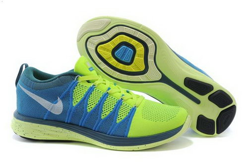 Nike Flyknit Lunar Ii 2 Mens Shoes Green White Blue On Sale
