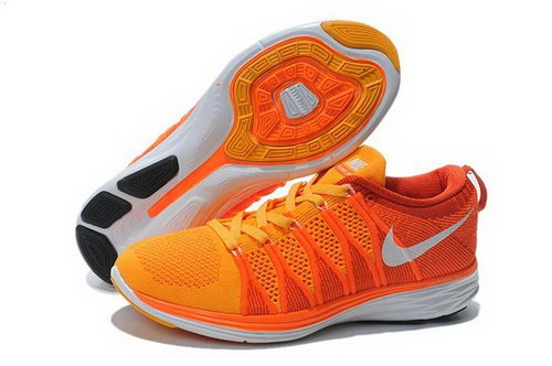 Nike Flyknit Lunar Ii 2 Womens Running Shoes All Orange White New Online Shop