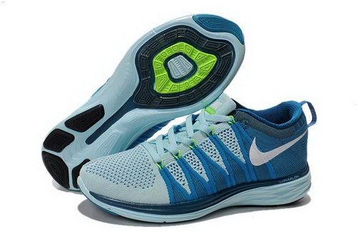 Nike Flyknit Lunar Ii 2 Womens Running Shoes Blue Green White New Inexpensive