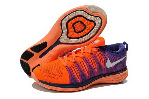 Nike Flyknit Lunar Ii 2 Womens Running Shoes Orange Purple White New Uk