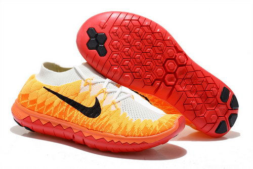 Nike Free 3.0 Flyknit Womens White Yellow Red Reduced