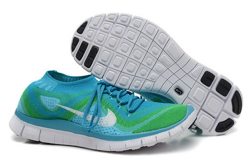 Nike Free 5.0 Flyknit Men Blue Green Low Cost