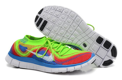 Nike Free 5.0 Flyknit Women Fluorescent Green Blue