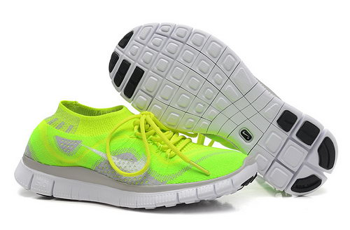 Nike Free 5.0 Flyknit Women Fluorescent Green Grey Factory Store
