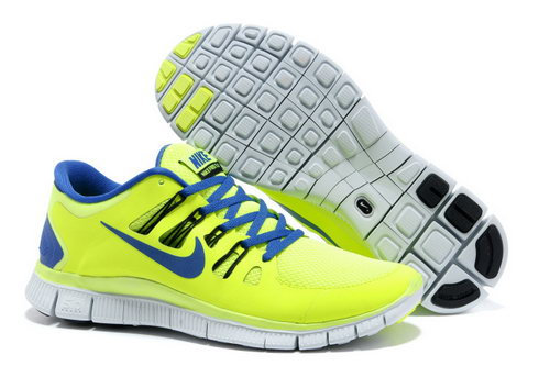 Nike Free Run +3 5.0 Mens Fluorescent Green Sapphire Blue Clearance
